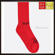 【バレンシアガ】Logo Intarsia Terry Socks Red And Black