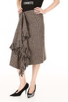 BALENCIAGA Fringed Check Skirt