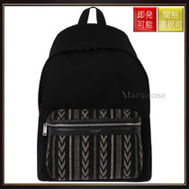 【サンローラン】Ikat Embroidered Canvas City Backpack Black