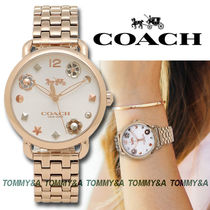 ★安心ヤマト便★Coach Flower Rose Gold-tone Watch 14502811