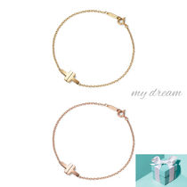 【Tiffany】T Two Single Chain Bracelet 18k gold, rose gold
