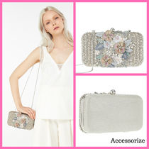 Accessorize★チェーン付花柄ビジュークラッチバッグ★送料無料