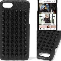 LoubiphoneSpiked Textured-leather iphone7 Black