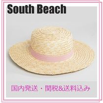 South Beach■リボン付きストローボートハット