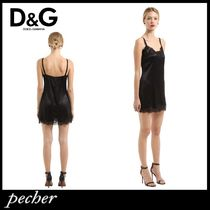 【DOLCE & GABBANA】SILK SATIN & LACE SLIP DRESS