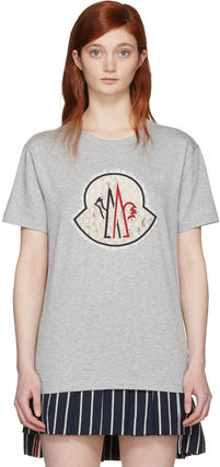 MONCLER Tシャツ・カットソー Moncler Gamme Rouge  グレー レース ロゴ T シャツ セール