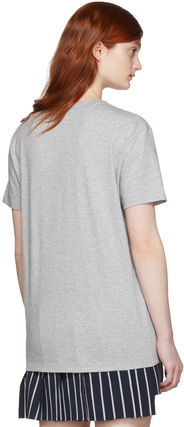 MONCLER Tシャツ・カットソー Moncler Gamme Rouge  グレー レース ロゴ T シャツ セール(2)