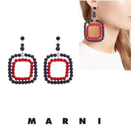 MARNI ピアス 【MARNI】Beaded square-hoop earrings 5422