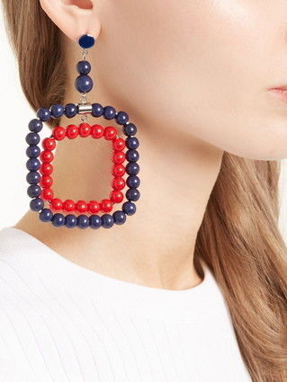 MARNI ピアス 【MARNI】Beaded square-hoop earrings 5422(3)