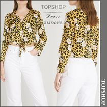 【国内発送・関税込】TOPSHOP★Leopard and floral-print shirt