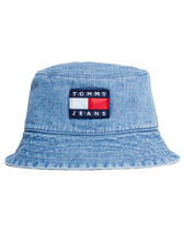 Tommy Jeans 90s Style Flag Logo Denim Bucket Hat