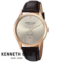 Kenneth Cole(ケネスコール) アナログ時計 Kenneth Cole Stone Accent レザー メンズ 腕時計 KC15174001