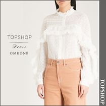 【国内発送・関税込】TOPSHOP★Feather-trimmed chiffon shirt