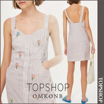 【国内発送・関税込】TOPSHOP★Gingham Embroider PinaforeDress