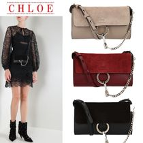 【CHLOE】Faye leather and suede strap wallet☆長財布