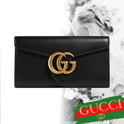18AW グッチ GG Marmont leather continental wallet 長財布 黒