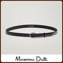 MassimoDutti♪LEATHER BELT WITH ROUND BUCKLE