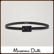 MassimoDutti♪LEATHER BELT WITH RECTANGULAR BUCKLE