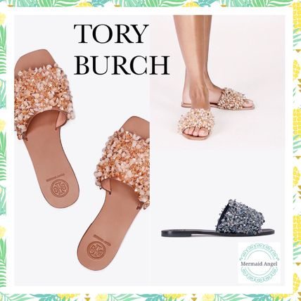 Tory Burch サンダル・ミュール Tory Burch Logan Embellished Floral Slides☆フラットサンダル