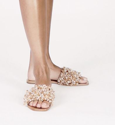 Tory Burch サンダル・ミュール Tory Burch Logan Embellished Floral Slides☆フラットサンダル(6)