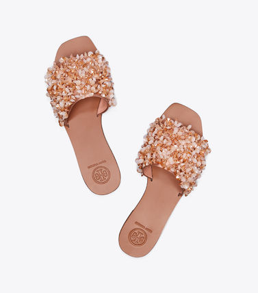 Tory Burch サンダル・ミュール Tory Burch Logan Embellished Floral Slides☆フラットサンダル(3)