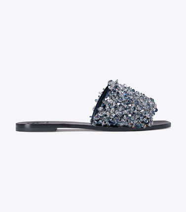 Tory Burch サンダル・ミュール Tory Burch Logan Embellished Floral Slides☆フラットサンダル(4)