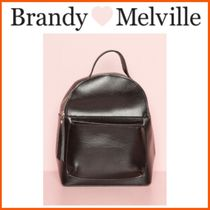 ☆Brandy Melville*BLACK AND SILVER FAUX LEATHER BACKPACK