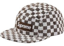 SS18 Supreme CHECKERBOARD CAMP CAP brown new era box logo
