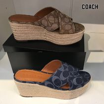 【COACH】DENIM WEDGE SANDALS 即発送可能!