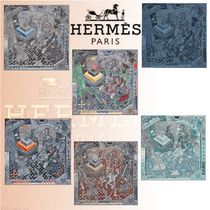 HERMES 2018-19AW Carre H 100 The Game スカーフ カシミア