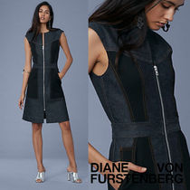 セール!DVF 綺麗系デニム Sleeveless Taylored  Zip Front Dress