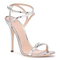 Ellie metallic silver leather sandals クリスタルサンダル