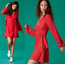 DVF WEST★ローズ柄★長袖ラップワンピース Rose Bud Candy Red