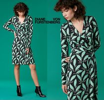 DVF リーフ柄ラップドレスJulian Banded Silk Jersey Wrap Dress