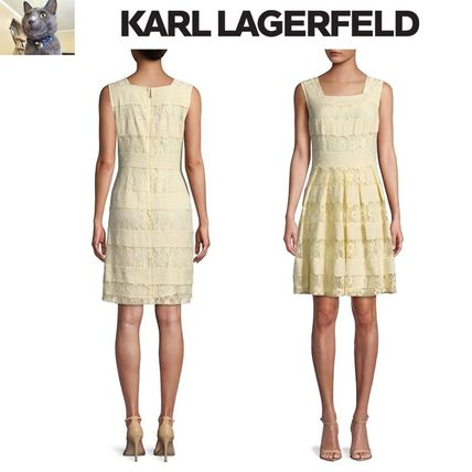 【Karl Lagerfeld】Lace Panel Fit-&-Flare ドレス