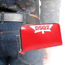 D SQUARED2 ZIP AROUND LEATHER WALLET WITH LOGO
