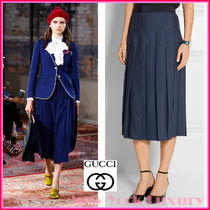 GUCCI★グッチ★素敵!NAVY WOOL BLEND PLEATED SKIRT