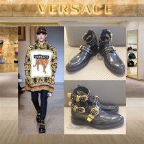 【18AW NEW】VERSACE_men / LEATHER STUDDED BELT STRAP BROGUES