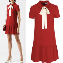 18-19AW RV118 STRETCH FRISOTTINO DRESS WITH BOW