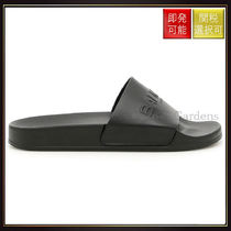 【バルマン】Leather And Rubber Calypso Slides Noir/Black