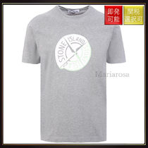 【ストーンアイランド】Logo Print Cotton T Shirt Grey With