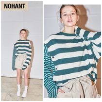 NOHANT(ノアン) スウェット・トレーナー 新作★NOHANT★DOUBLE STRIPED COTTON-JERSEY T-SHIRT STRIPE-gr
