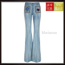 【グッチ】Flared Jeans With Studs And Floral Embroidery
