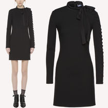 18-19AW RV121 FITTED CADY TECH DRESS WITH BUTTON DETAIL