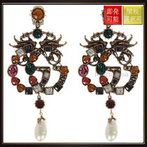 【グッチ】Double G Earrings With Crystals Antiqued Gold
