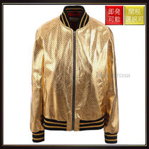 【グッチ】Guccy Leather Bomber Gold And Black