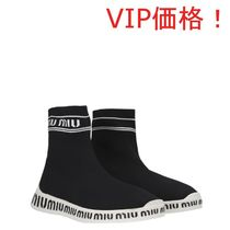 VIP価格 ! MiuMiu pull-on knit sneakers with logoed sole ♪