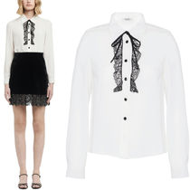 MM514 LACE TRIMMED SABLE BLOUSE WITH RIBBON TIE