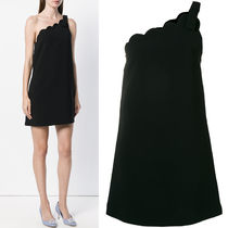 MM515 CADY FAILLE ONE-SHOULDER DRESS WITH SCALLOP DETAIL