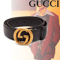 【関税込み】GUCCI ★GG grained-leather ベルト Black